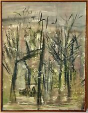 Original 70s Signed ANN ZAHN Abstract Landscape O/C Painting Listed MoMA Artist