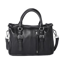 Hong Kong Closeout Black Genuine Leather Satchel Bag Women Trendy Handbag