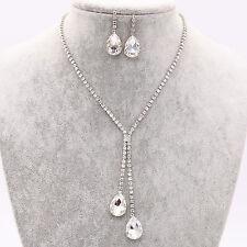 Crystal Diamond Rhinestone Drop Necklace Pendent Earrings Set Party Jewelry UK