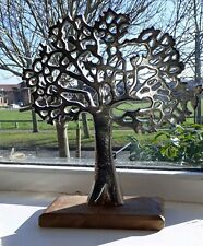 Silver Metal Tree of Life on Wooden Base Vintage Sculpture Ornament 27cm New