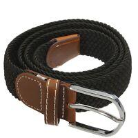 Unisexe Hommes Femmes stretch en cuir tresse elastique boucle de ceinture c B6N6