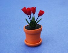 Miniature Dollhouse Red Tulips Plants Flowers 1:12 Scale New