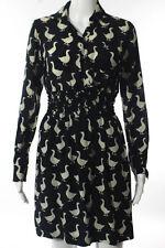 Moschino Black Ivory Silk Cinched Waist Duck Print Dress Size Small