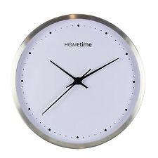 Modern Silent Round Aluminium Metal Silver Hometime Wall Clock