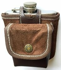 EXCELLENT 6oz STAINLESS STEEL HIP FLASK & PLAYING CARDS SET IN LEATHER LIKE CASE
