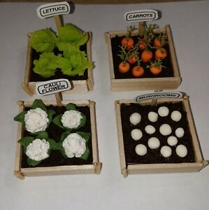 Dollhouse Miniature Vegetable Garden Boxes Lettuce Carrots Mushrooms Decor
