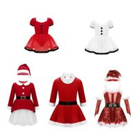 Girl Sequined Xmas Santa Dance Leotard Dress + Hat Outfit Fancy Skating Costume