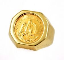 Mexico 1945 $2.5 Pesos .900 Gold Coin in 14k YG Octagon Ring Bezel Size 7