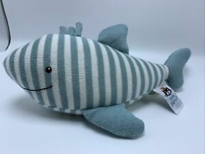 LITTLE JELLYCAT BLUE AND WHITE STRIPE SIDNEY SHARK RATTLE PLUSH TOY RETIRED