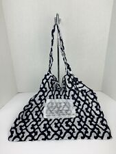 Roberta Roller Rabbit Tote Bag Shopper White w Dark Navy Print Double Handle