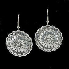Western Cowgirl Jewelry ~Squash Blossom Disc~ French Wire Engraved Earrings
