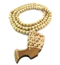 "WOODEN AFRICAN WOMEN GIRL PENDANT PIECE 36"" CHAIN BEAD NECKLACE GOOD WOOD STYLE"