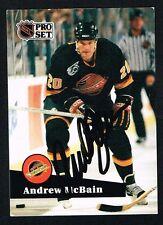 Andrew McBain #500 signed autograph auto 1991-92 Pro Set Hockey Trading Card