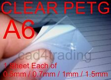 A6 Pack 0.5/0.7/1/1.5mm Clear PETG Dolls House Glazing Plastic Art Craft Hobby