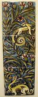 William De Morgan 3 Tile Dragon Panel / Bathroom / Kitchen / Splashback / Plaque