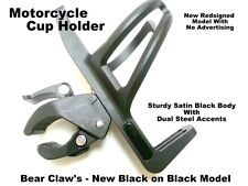 Harley Satin Black Motorcycle Handlebar Bear Claw Mount Cup Holder EZ On OFF