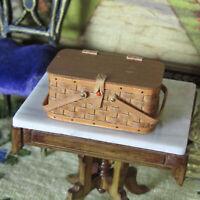 Dollhouse ARTISAN PICNIC BASKET Miniature Artist Made SIGNED Handmade Tiny Woven