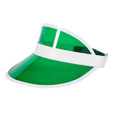 UNISEX VERDE SUN VISOR POKER Cappello Golf NEON Stag Rave anni'80 Dance PAC Cerchietto