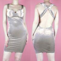 VINTAGE 90s Grey Beige Bodycon Velvet Strappy Wiggle Backless Mini Dress XS 8
