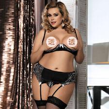 Sexy Plus Size M-5XL Lace Shelf Bra Open Cup G-string Lingerie Set Garter Belt