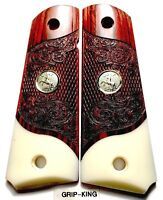 """1911 GRIPS,SALE $45.73, FITS COLT,SCROLLED ROSE WOOD """" RAMPANT HORSE """"MEDALLIONS"""