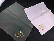 Pair Of Vintage Green & Tan Souvenir Or Ireland Silk Hankies/Handkerchiefs
