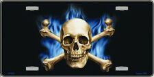 Blue Flame And Crossbones With Skull Metal Novelty License Plate Tag