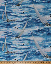 Cotton Sailboats Boats Water Ocean Seagulls Blue Cotton Fabric Print Bty D693.16