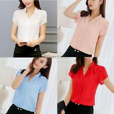 AU Summer Women Chiffon Shirt Ladies Short Sleeve V-Neck Blouse Pullover Tops