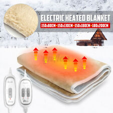 Flannel Electric Heated Blanket Heater Warmer Bedding Warm Bed & Double   NEW