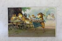 Easter  Anthropomorphic Postcard Chicks in a Bar Playing Cards Drinking Dinner F