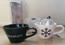 2 Coffee Hot Chocolate Tea Cups Set Drink Mix Peppermint Marshmallows with Whisk