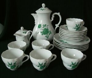 Kaffeeservice Tee Service grüne Rose Porzellan Hutschenreuther Maria Theresia