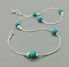 ANKLET blue TURQUOISE Solid 925 Sterling Silver Chain  Ankle Bracelet Birthstone