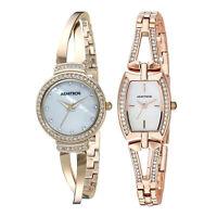 Armitron Womens 26mm Swarovski Crystal Gold Tone Bangle Watch Set