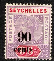 Seychelles 1893 Surcharge 90c on 96c crown CA Die I mint SG21