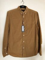 Marks And Spencer Pure Cotton Mens Shirt Brown Small M&S