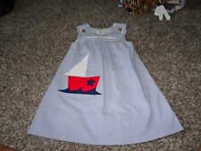 FLORENCE EISEMAN 4 BLUE WHITE STRIPED SAILBOAT DRESS