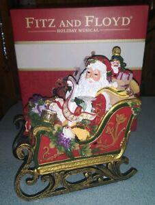 NIB Fitz And Floyd Holiday Musical Regal Holiday Santa in Sleigh