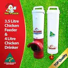 DINE-A-CHOOK Chicken Feeder & Drinker Set / Chook Waterer / Poultry / NEW RED