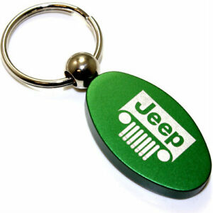 Green Aluminum Metal Oval Jeep Grille Logo Key Chain Fob Chrome Ring