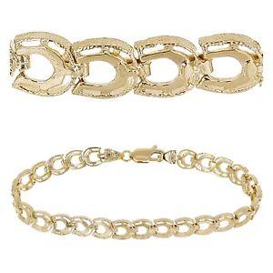 "10k Yellow Gold Solid Diamond Cut Horse Shoe Bracelet 6.5"" 6.4mm 7.2 grams"