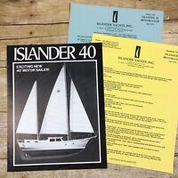 Vtg Sailboat Dealer Sales Brochure Islander Yachts 40 Motorsailer 1972 Price Lis