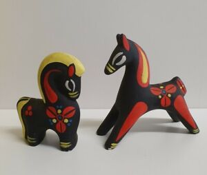 🔶️2 ELLIS AUSTRALIAN STUDIO ART POTTERY HORSE STATUE FIGURINE MCM eames era