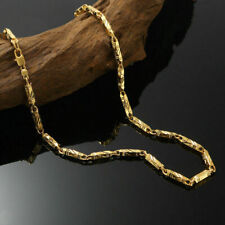 "Mens 24K Solid Yellow Gold GF Diamond Cut Link Chain Necklace Jewellery 24""x4mm"