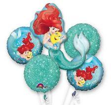 New Disney Little Mermaid Ariel Party Favor Supplies 5CT Foil Balloons Bouquet