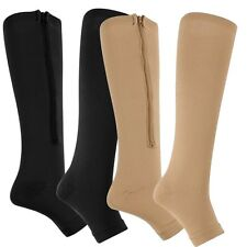 New Compression Zip Sox Socks Zipper Leg Support Unisex Open Toe Knee Stockings