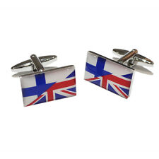 Union Jack Mixed with Finnish Flag Cufflinks & Gift Pouch