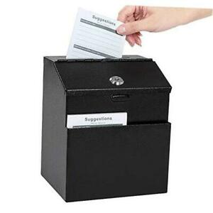 Suggestion Box with Lock Wall Mounted Steel Ballot Box with Lock Donation Box