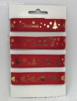RED AND GOLD 15mm CHRISTMAS RIBBON BUNDLES 4 x 2M PACK GIFT WRAP WREATHS CRAFTS